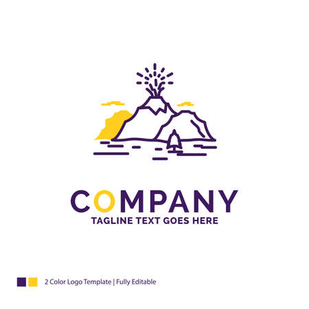 Company Name Design For Nature, hill, landscape, mountain, blast. Purple and yellow Brand Name Design with place for Tagline. Creative template for Small and Large Business.