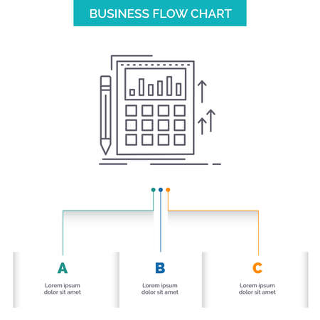 Accounting, audit, banking, calculation, calculator Business Flow Chart Design with 3 Steps. Line Icon For Presentation Background Template Place for text Ilustração Vetorial