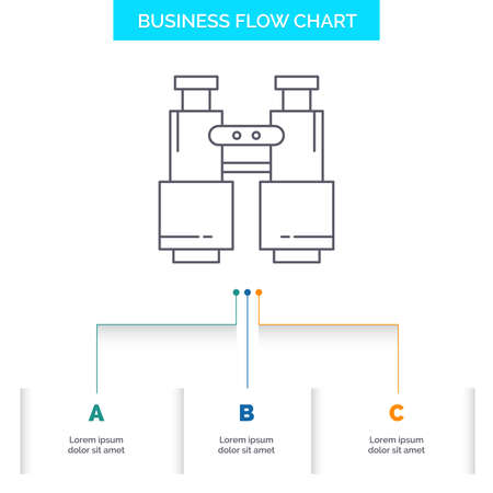 binoculars, find, search, explore, camping Business Flow Chart Design with 3 Steps. Line Icon For Presentation Background Template Place for text