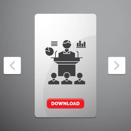 Business, conference, convention, presentation, seminar Glyph Icon in Carousal Pagination Slider Design & Red Download Button Vektorgrafik