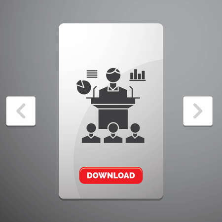 Business, conference, convention, presentation, seminar Glyph Icon in Carousal Pagination Slider Design & Red Download Button