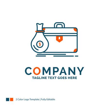 briefcase, business, case, open, portfolio Logo Design. Blue and Orange Brand Name Design. Place for Tagline. Business Logo template.