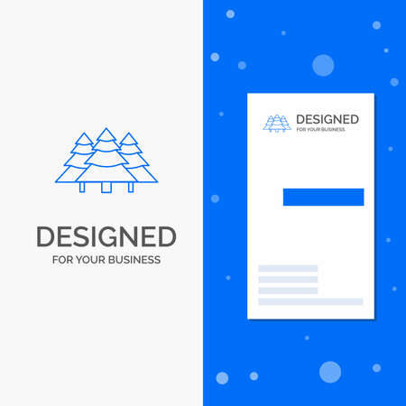 Business for forest, camping, jungle, tree, pines. Vertical Blue Business / Visiting Card template