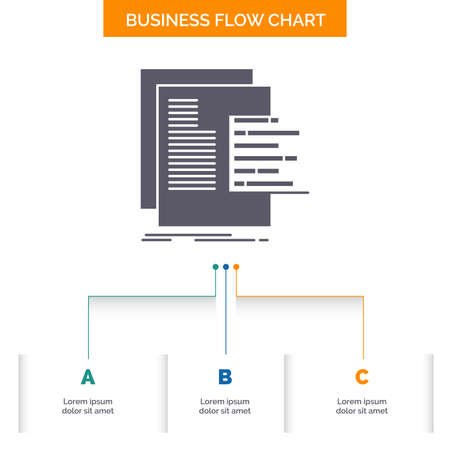 chart, data, graph, reports, valuation Business Flow Chart Design with 3 Steps. Glyph Icon For Presentation Background Template Place for text. Ilustração