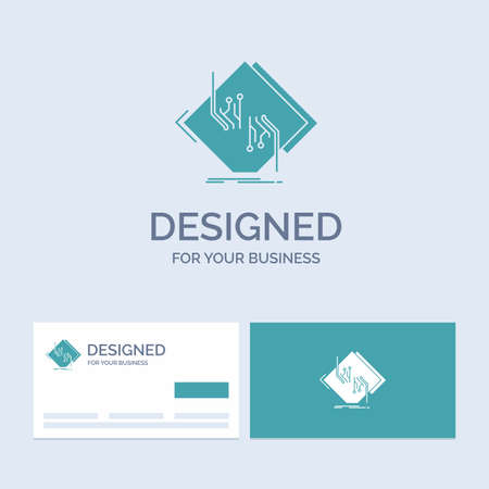 Board, chip, circuit, network, electronic Business Logo Glyph Icon Symbol for your business. Turquoise Business Cards with Brand logo template.