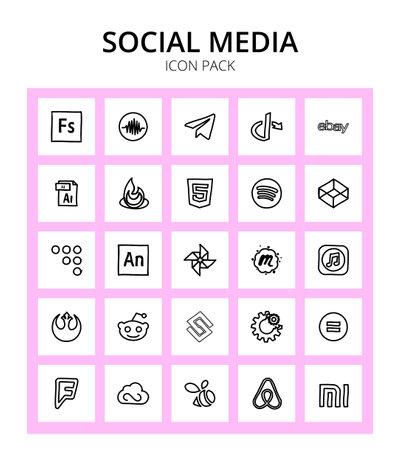 25 Vector Editable Logo Symbols of adobe, coderwall, ai, codepen, html Editable Vector Design Elements