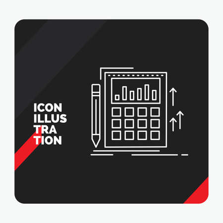 Red and Black Creative presentation Background for Accounting, audit, banking, calculation, calculator Line Icon