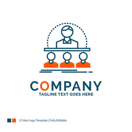 Business, coach, course, instructor, mentor Logo Design. Blue and Orange Brand Name Design. Place for Tagline. Business Logo template.