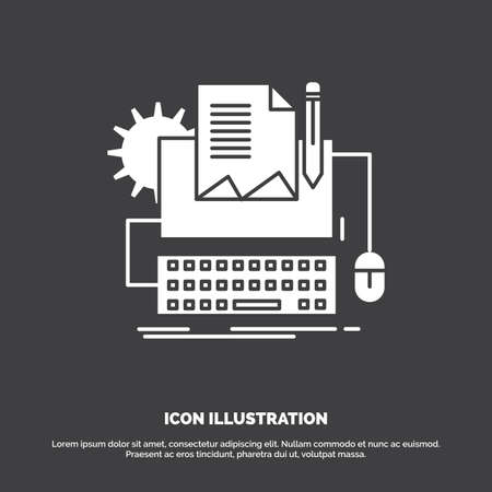 Type Writer, paper, computer, paper, keyboard Icon. glyph vector symbol for UI and UX, website or mobile application