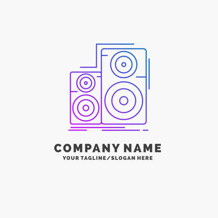 Audio, hifi, monitor, speaker, studio Purple Business Logo Template. Place for Tagline
