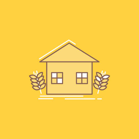 agriculture, urban, ecology, environment, farming Flat Line Filled Icon. Beautiful Logo button over yellow background for UI and UX, website or mobile application