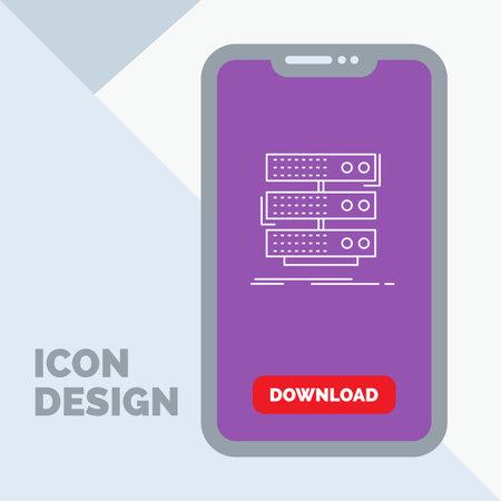 server, storage, rack, database, data Line Icon in Mobile for Download Page Illusztráció