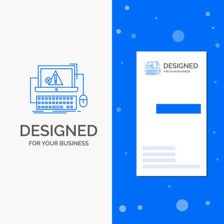 Business Logo for Computer, crash, error, failure, system. Vertical Blue Business / Visiting Card template
