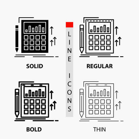 Accounting, audit, banking, calculation, calculator Icon in Thin, Regular, Bold Line and Glyph Style. Vector illustration