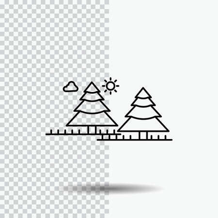 forest, camping, jungle, tree, pines Line Icon on Transparent Background. Black Icon Vector Illustration