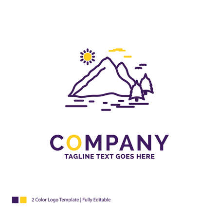 Company Name Logo Design For Nature, hill, landscape, mountain, sun. Purple and yellow Brand Name Design with place for Tagline. Creative Logo template for Small and Large Business.