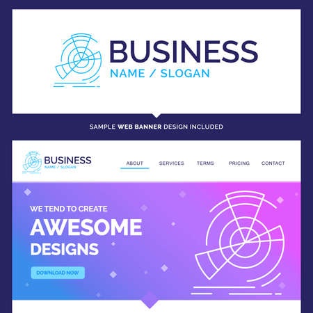 Beautiful Business Concept Brand Name Data, diagram, performance, point, reference Logo Design and Pink and Blue background Website Header Design template. Place for Slogan / Tagline. Exclusive Website banner and Business Logo design Template Ilustração