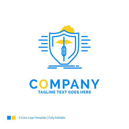 insurance, health, medical, protection, safe Blue Yellow Business Logo template. Creative Design Template Place for Tagline. Logo