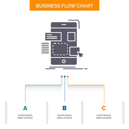 drag, mobile, design, ui, ux Business Flow Chart Design with 3 Steps. Glyph Icon For Presentation Background Template Place for text.