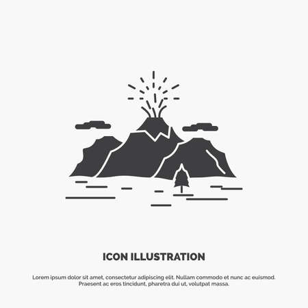 Nature, hill, landscape, mountain, blast Icon. glyph vector gray symbol for UI and UX, website or mobile application