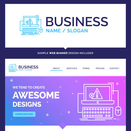 Beautiful Business Concept Brand Name Computer, crash, error, failure, system Logo Design and Pink and Blue background Website Header Design template. Place for Slogan / Tagline. Exclusive Website banner and Business Logo design Template