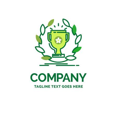 award, cup, prize, reward, victory Flat Business Logo template. Creative Green Brand Name Design.