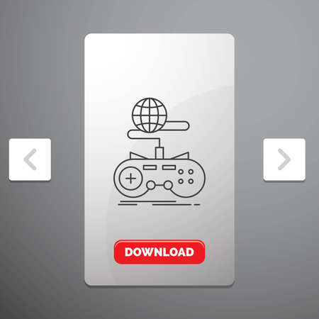 Game, gaming, internet, multiplayer, online Line Icon in Carousal Pagination Slider Design & Red Download Button Vettoriali