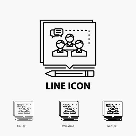 Analysis, argument, business, convince, debate Icon in Thin, Regular and Bold Line Style. Vector illustration