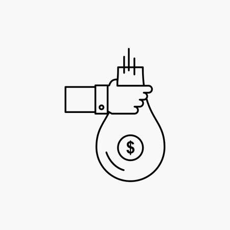 Bag, finance, give, investment, money, offer Line Icon. Vector isolated illustration