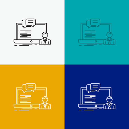 training, course, online, computer, chat Icon Over Various Background. Line style design, designed for web and app