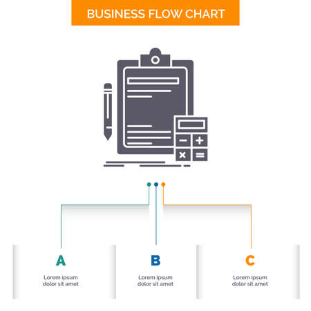 Accounting, banking, calculator, finance, Audit Business Flow Chart Design with 3 Steps. Glyph Icon For Presentation Background Template Place for text.