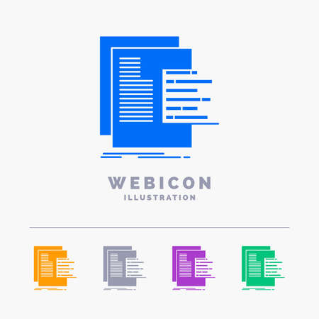 chart, data, graph, reports, valuation 5 Color Glyph Web Icon Template isolated on white. Vector illustration