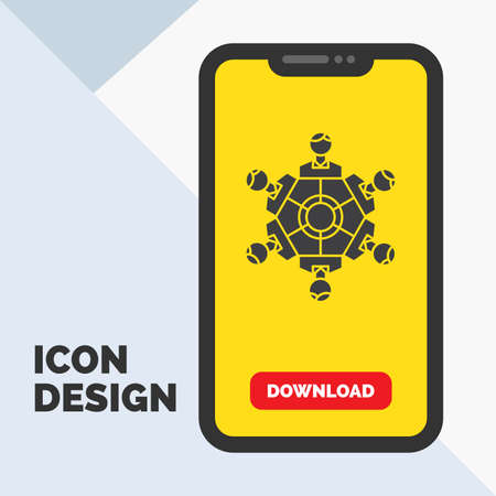 Cooperation, friends, game, games, playing Glyph Icon in Mobile for Download Page. Yellow Background