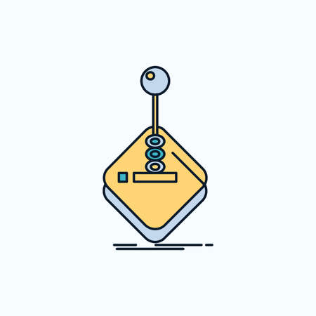 arcade, game, gaming, joystick, stick Flat Icon. green and Yellow sign and symbols for website and Mobile appliation. vector illustration