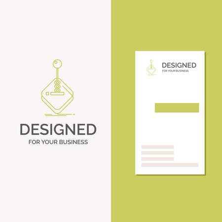 Business Logo for arcade, game, gaming, joystick, stick. Vertical Green Business / Visiting Card template. Creative background vector illustration