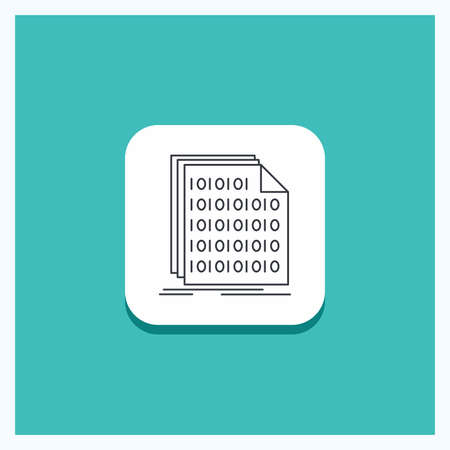 Round Button for Binary, code, coding, data, document Line icon Turquoise Background