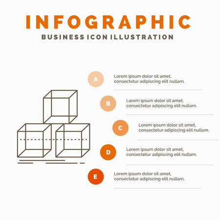 Arrange, design, stack, 3d, box Infographics Template for Website and Presentation. Line Gray icon with Orange infographic style vector illustration Stock Illustratie