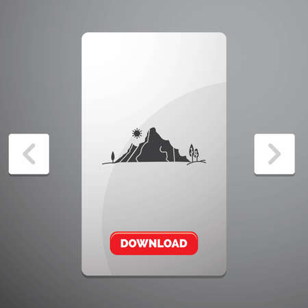 mountain, landscape, hill, nature, tree Glyph Icon in Carousal Pagination Slider Design & Red Download Button