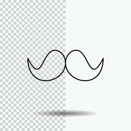moustache, Hipster, male, men Line Icon on Transparent Background. Black Icon Vector Illustration