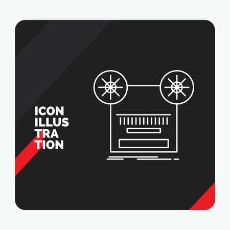 Red and Black Creative presentation Background for Record, recording, retro, tape, music Line Icon