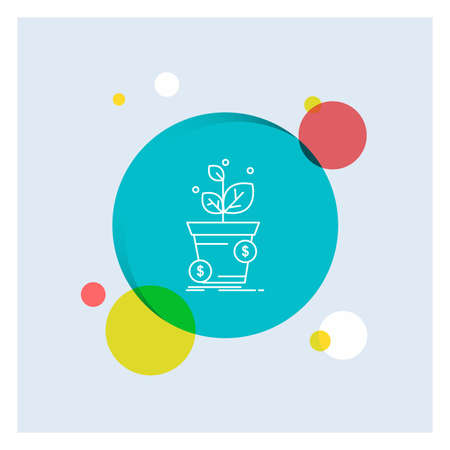 dollar, growth, pot, profit, business White Line Icon colorful Circle Background