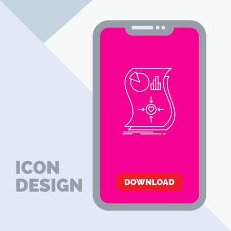 Estimation, love, relationship, response, responsive Line Icon in Mobile for Download Page