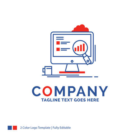 Company Name Logo Design For analytics, board, presentation, laptop, statistics. Blue and red Brand Name Design with place for Tagline. Abstract Creative Logo template for Small and Large Business.