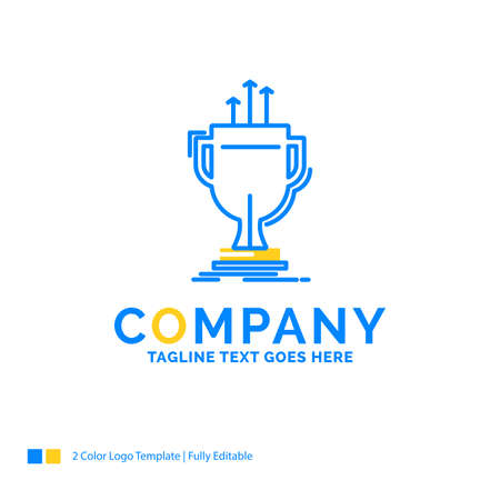 award, competitive, cup, edge, prize Blue Yellow Business Logo template. Creative Design Template Place for Tagline.