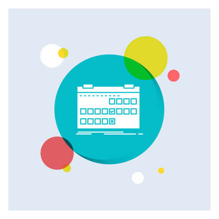 Calendar, date, event, release, schedule White Glyph Icon colorful Circle Background Ilustração