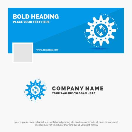 Blue Business Logo Template for management, process, production, task, work. Facebook Timeline Banner Design. vector web banner background illustration Vectores
