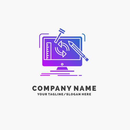 engineering, project, tools, workshop, processing Purple Business Logo Template. Place for Tagline. Vectores