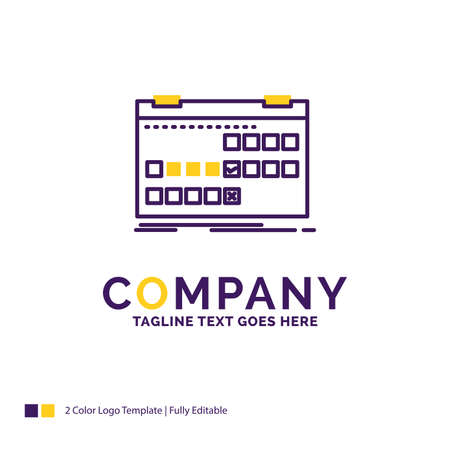 Company Name Logo Design For Calendar, date, event, release, schedule. Purple and yellow Brand Name Design with place for Tagline. Creative Logo template for Small and Large Business.