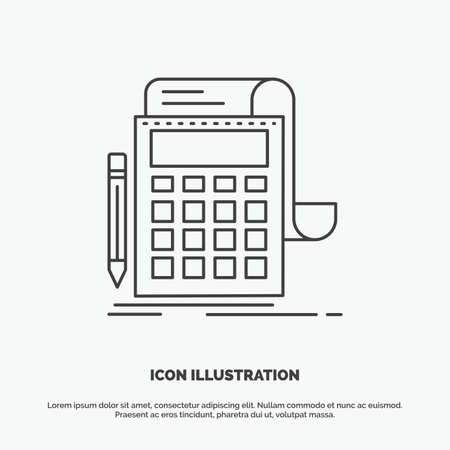 Accounting, audit, banking, calculation, calculator Icon. Line vector gray symbol for UI and UX, website or mobile application