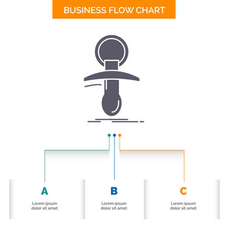 Baby, dummy, newbie, nipple, noob Business Flow Chart Design with 3 Steps. Glyph Icon For Presentation Background Template Place for text.